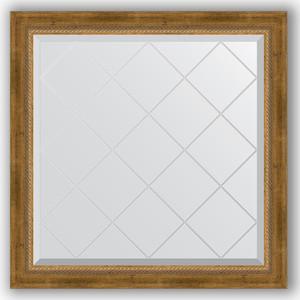 Зеркало с гравировкой Evoform Exclusive-G 83x83 см, в багетной раме - состаренная бронза с плетением 70 мм (BY 4305)