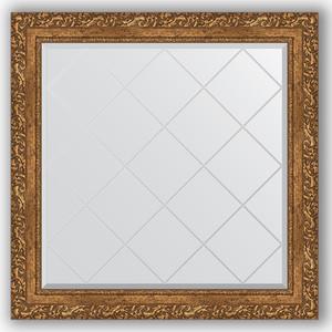 Зеркало с гравировкой Evoform Exclusive-G 85x85 см, в багетной раме - виньетка бронзовая 85 мм (BY 4314) зеркало с гравировкой поворотное evoform exclusive g 130x185 см в багетной раме виньетка бронзовая 85 мм by 4486