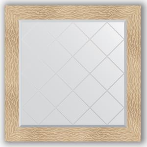 Зеркало с гравировкой Evoform Exclusive-G 86x86 см, в багетной раме - золотые дюны 90 мм (BY 4322)