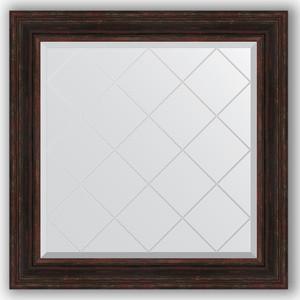 Зеркало с гравировкой Evoform Exclusive-G 89x89 см, в багетной раме - темный прованс 99 мм (BY 4334) зеркало с гравировкой evoform exclusive g 99x124 см в багетной раме византия серебро 99 мм by 4372