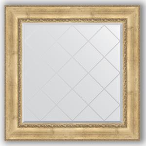 Зеркало с гравировкой Evoform Exclusive-G 92x92 см, в багетной раме - состаренное серебро с орнаментом 120 мм (BY 4342) зеркало с гравировкой evoform exclusive g 102x127 см в багетной раме состаренное серебро с орнаментом 120 мм by 4385