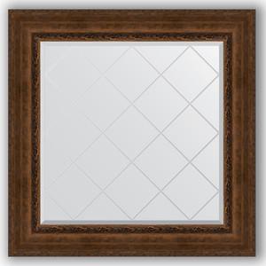 Зеркало с гравировкой Evoform Exclusive-G 92x92 см, в багетной раме - состаренная бронза с орнаментом 120 мм (BY 4343)