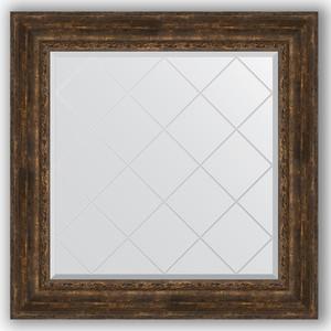 Зеркало с гравировкой Evoform Exclusive-G 92x92 см, в багетной раме - состаренное дерево с орнаментом 120 мм (BY 4344) зеркало с гравировкой evoform exclusive g 137x192 см в багетной раме состаренное дерево с орнаментом 120 мм by 4516