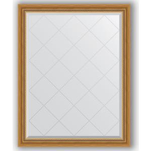 Зеркало с гравировкой поворотное Evoform Exclusive-G 93x118 см, в багетной раме - состаренное золото с плетением 70 мм (BY 4346) зеркало с гравировкой evoform exclusive g 73x155 см в багетной раме состаренное золото с плетением 70 мм by 4260