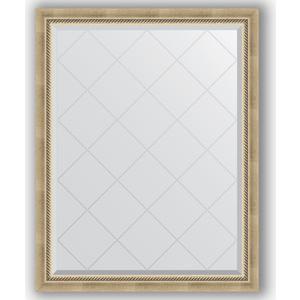 Зеркало с гравировкой Evoform Exclusive-G 93x118 см, в багетной раме - состаренное серебро с плетением 70 мм (BY 4347)