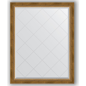 Зеркало с гравировкой поворотное Evoform Exclusive-G 93x118 см, в багетной раме - состаренная бронза с плетением 70 мм (BY 4348)