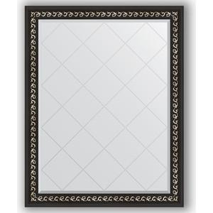Зеркало с гравировкой поворотное Evoform Exclusive-G 95x120 см, в багетной раме - черный ардеко 81 мм (BY 4354) зеркало напольное с гравировкой поворотное evoform exclusive g floor 110x199 см в багетной раме черный ардеко 81 мм by 6348