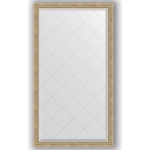 Зеркало с гравировкой Evoform Exclusive-G 93x168 см, в багетной раме - состаренное серебро с плетением 70 мм (BY 4390)