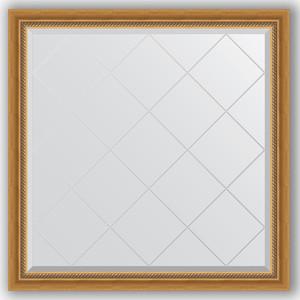 Зеркало с гравировкой Evoform Exclusive-G 103x103 см, в багетной раме - состаренное золото с плетением 70 мм (BY 4432)