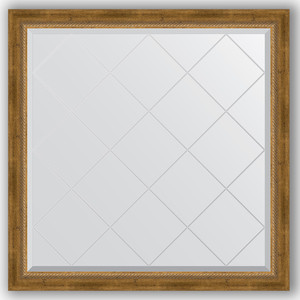 Зеркало с гравировкой Evoform Exclusive-G 103x103 см, в багетной раме - состаренная бронза с плетением 70 мм (BY 4434)
