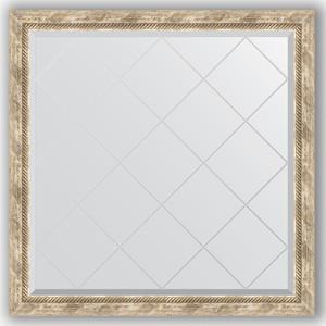 Зеркало с гравировкой Evoform Exclusive-G 103x103 см, в багетной раме - прованс с плетением 70 мм (BY 4435) зеркало с фацетом в багетной раме поворотное evoform exclusive 53x83 см прованс с плетением 70 мм by 3407