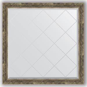 Зеркало с гравировкой Evoform Exclusive-G 103x103 см, в багетной раме - старое дерево с плетением 70 мм (BY 4436)