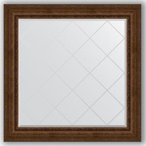 Зеркало с гравировкой Evoform Exclusive-G 112x112 см, в багетной раме - состаренная бронза с орнаментом 120 мм (BY 4472) зеркало с гравировкой поворотное evoform exclusive g 82x110 см в багетной раме состаренная бронза с орнаментом 120 мм by 4214