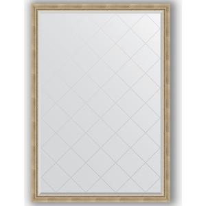Зеркало с гравировкой Evoform Exclusive-G 128x183 см, в багетной раме - состаренное серебро с плетением 70 мм (BY 4476)