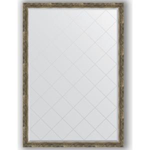 Зеркало с гравировкой Evoform Exclusive-G 128x183 см, в багетной раме - старое дерево с плетением 70 мм (BY 4479)