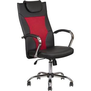 Кресло Алвест AV 134 СН (04) MK экокожа/экокожа перф/сетка однсл 223/253/474 черная/черная перф/ярко-красна