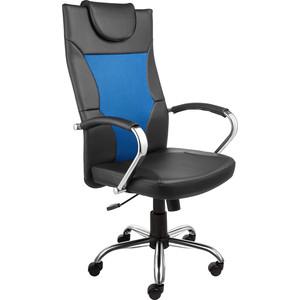 Кресло Алвест AV 134 СН (04) MK экокожа/экокожа перф/сетка однсл 223/253/471 черная/черная перф/синяя