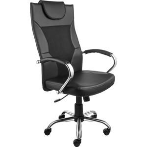 Кресло Алвест AV 134 СН (04) MK экокожа/экокожа перф/сетка однсл 223/253/470 черная/черная перф/черная