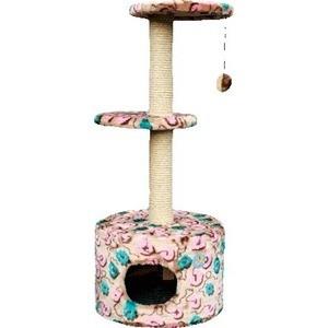 Когтеточка Зооник Дом круглый с 2-мя площадками цветной мех для кошек 450 х 1030см (22055)