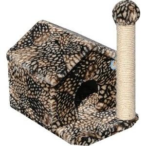Когтеточка Зооник Дом с когтеточкой цветной мех для кошек 360 х 520 х 500см (22025)