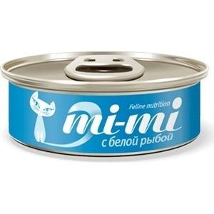 Консервы Mi-Mi Feline Nutrition с белой рыбой кусочки в желе для кошек 80г