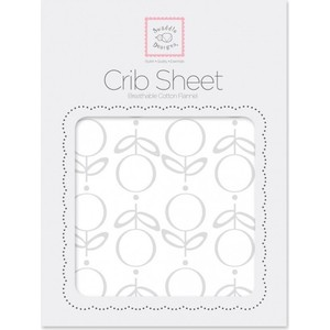 Детская простынь SwaddleDesigns Fitted Crib Sheet Sterling Lolli Fleur (SD-603ST) простыни candide простыня ivory cotton fitted sheet 130г м2 40x80 см