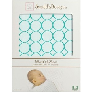 Детская простынь SwaddleDesigns Fitted Crib Sheet Turquoise Stripe (SD-436TQ) scalloped fitted