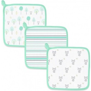 Детские мочалки SwaddleDesigns Washcloth Muslin Green Woodland (SDM-712SC)