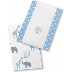 Полотенчики SwaddleDesigns Baby Burpie Set Blue Elephant & Giraffe (SD-457B)