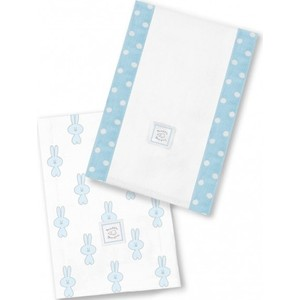 Полотенчики SwaddleDesigns Baby Burpie Set Blue Little Bunnie (SD-623PB)
