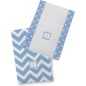 Полотенчики SwaddleDesigns Baby Burpie Set Blue/TB Trim Chevron (SD-451B)