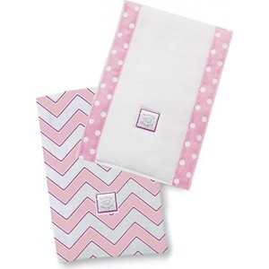 Полотенчики SwaddleDesigns Baby Burpie Set Pink/VB Trim Chevron (SD-451P)