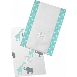 Полотенчики SwaddleDesigns Baby Burpie Set SC Elephant & Giraffe (SD-457SC)