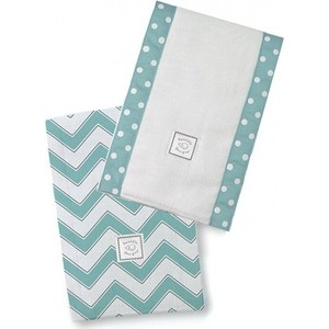 Полотенчики SwaddleDesigns Baby Burpie Set TQ/Grey Trim Chevron (SD-451TQ)