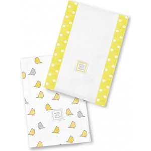 Полотенчики SwaddleDesigns Baby Burpie Set Yellow/Grey Chickies (SD-471Y)