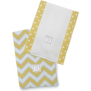 Полотенчики SwaddleDesigns Baby Burpie Set Yellow/Grey Trim Chevron (SD-451Y)