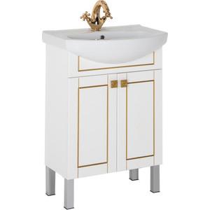 Тумба с раковиной Aquanet Честер 60 белый/золото (186104+182641) тумба с раковиной меркана уют 60 на ножках белая 14136 уют 60