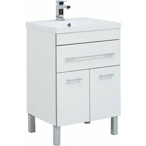 Тумба под раковину Aquanet Верона 58 белый (напольная 1 ящик 2 дверцы) (182507) комплект мебели aquanet верона напольная 58 цвет белый