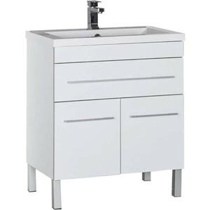 Тумба под раковину Aquanet Верона 75 белый (напольная 1 ящик 2 дверцы) (182706) комплект мебели aquanet верона напольная 58 цвет белый