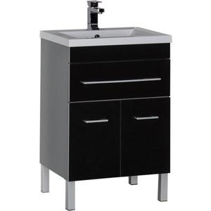 Тумба под раковину Aquanet Верона 58 черный (напольная 1 ящик 2 дверцы) (182705) комплект мебели aquanet верона напольная 58 цвет белый