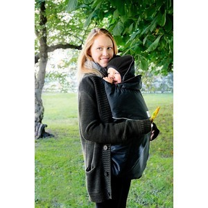 МаМ Двухстронняя водоотталкивающая накидка Deluxe Cover для слингоношения с шапочкой для малыша, Черный (12269938) товары для мам