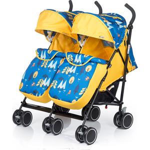 Коляска-трость для двойни BabyHit Twicey - Желтая с синим