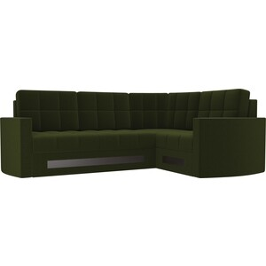 Диван угловой АртМебель Белла У микровельвет зеленый правый угловой диван артмебель юта 32 правый