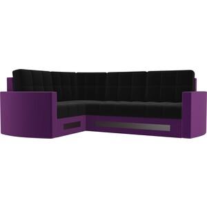 Диван угловой АртМебель Белла У микровельвет черно-фиолетовый левый угловой диван артмебель андора ткань левый