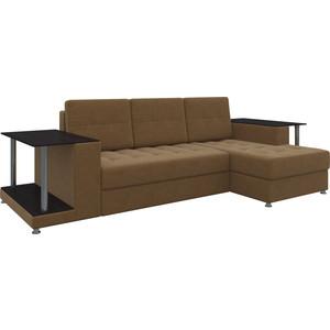 Диван угловой АртМебель Даллас микровельвет коричневый правый диван угловой артмебель атланта микровельвет коричневый правый