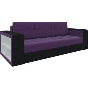 Диван-еврокнижка АртМебель Пазолини микровельвет фиолетово-черный