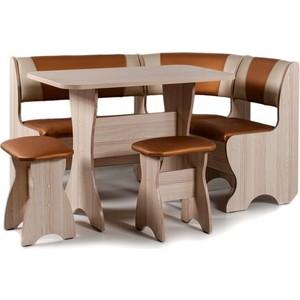 Набор мебели для кухни Бител Тюльпан - комби (ясень с-120 + с-101, ясень) 101 розовый тюльпан