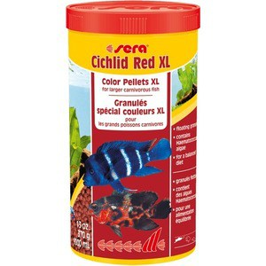 Корм SERA CICHLID RED XL Color Pellets XL for Larger Carnivorous Fish цветные гранулы для крупных плотоядных рыб 1л (370г) корм tetra tetramin xl flakes complete food for larger tropical fish крупные хлопья для больших тропических рыб 10л 769946