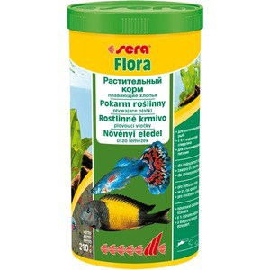 Корм SERA FLORA Floating Flakes Herbal Food плавающие хлопья для растительноядных рыб 1л (210г) корм tetra malawi flakes complete food for east african cichlids хлопья с водорослями для восточно африканских цихлид 1л