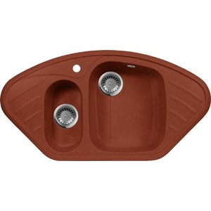 все цены на Кухонная мойка AquaGranitEx M-14 950х500 красный марс (M-14 (334))